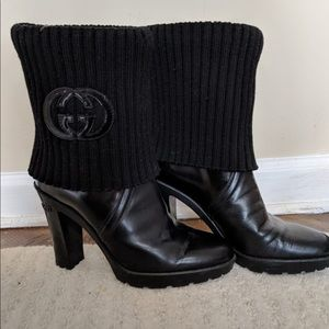 Gucci black boot with chunky knit wool sock!!
